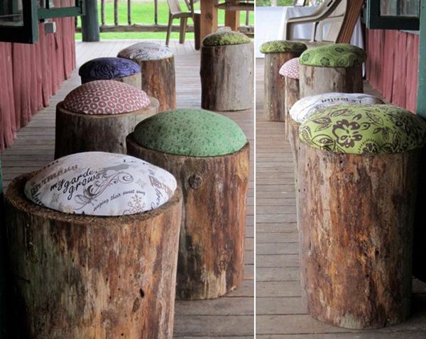 troncos com almofadas